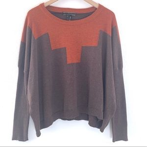 Love Stitch Color Block Sweater Ribbed Sleeves